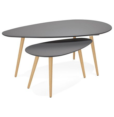 Tables gigognes design TETRYS grises foncees - Alterego