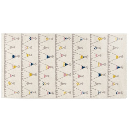 Tapis enfant blanc 'TOMAK' 80/150 cm motifs tente indien