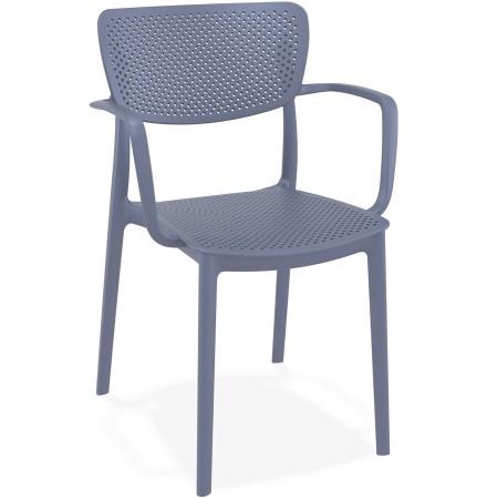 Chaise perforée avec accoudoirs 'TORINA' en matière plastique gris foncé