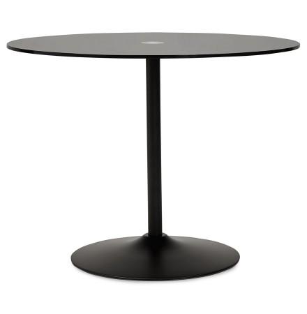 Table à dîner ronde TROBO noire en verre de 100 cm de diamètre - Alterego