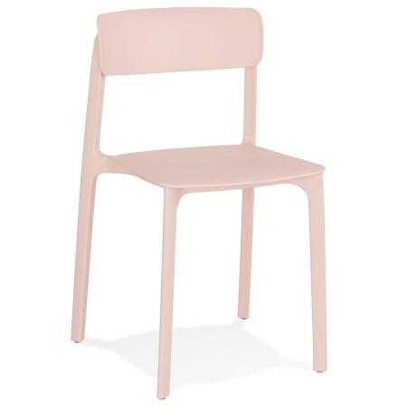 Chaise intérieur / extérieur empilable 'TROPICAL' en matière plastique rose pastel