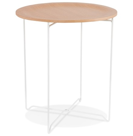 Table d'appoint design 'TSUNAMI' blanc en bois et métal
