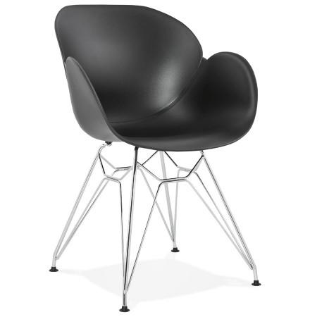 Chaise moderne 'UNAMI' noire en matière plastique