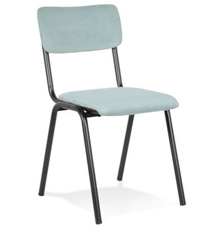 Chaise de cuisine 'VANINA' en tissu côtelé bleu