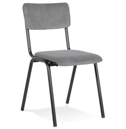 Chaise de cuisine 'VANINA' en tissu côtelé gris foncé