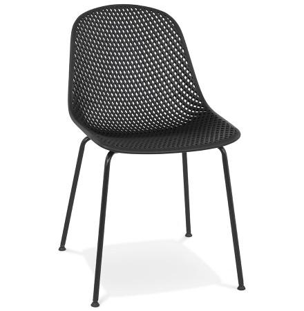 Chaise design perforée 'VIKY' noire intérieure / extérieure