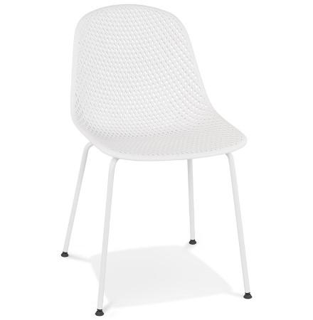 Chaise design perforée 'VIKY' blanche intérieure / extérieure