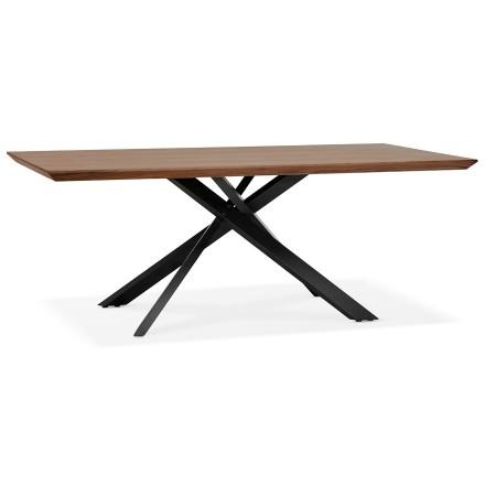 Table à diner avec pied central en x 'WALABY' en bois finition Noyer - 200x100 cm