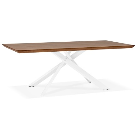 Table à diner 'WALABY' en bois finition Noyer avec pied central en x blanc - 200x100 cm