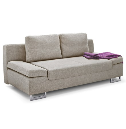 Canapé-lit convertible 'WAZA' en tissu chenille beige