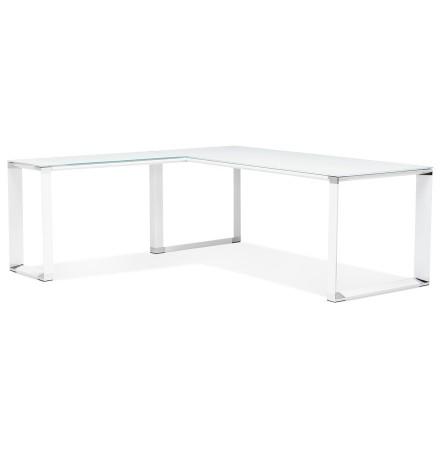 Grand bureau de direction en angle 'XLINE' en verre blanc (angle au choix) - 200 cm