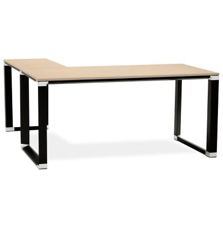 Bureau d'angle design 'XLINE' en bois finition naturelle et métal noir (angle au choix)