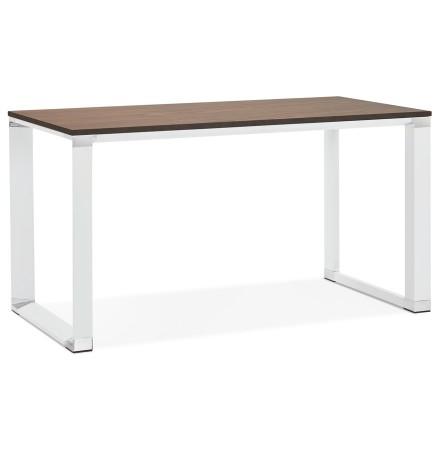 Petit bureau droit design 'XLINE' en bois finition Noyer et métal blanc - 140x70 cm