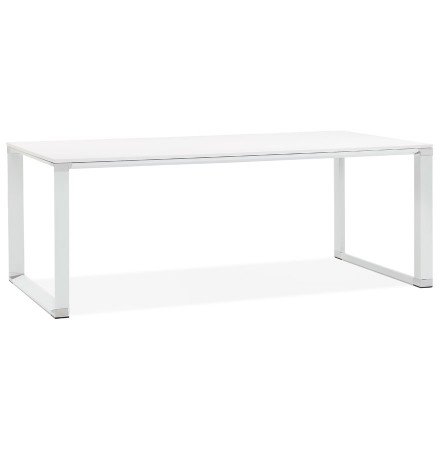 Grand bureau de direction droit 'XLINE' en bois blanc - 200x100 cm