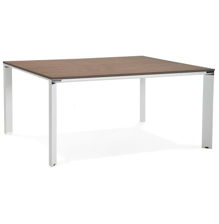 Table de réunion / bureau bench 'XLINE SQUARE' en bois finition Noyer et métal blanc - 160x160 cm