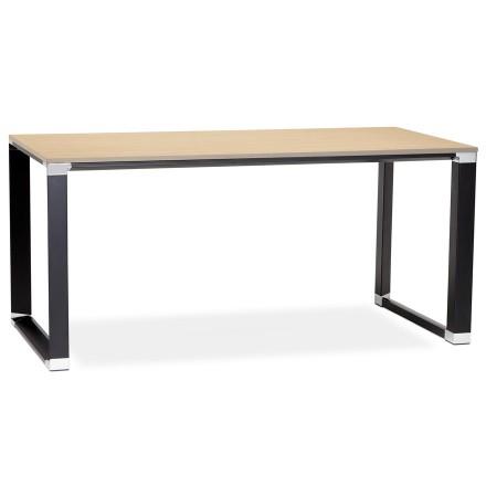 Bureau droit XLINE en bois finition naturelle et métal noir - Alterego