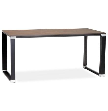 Bureau droit design 'XLINE' en bois finition Noyer et métal noir - 160x80 cm