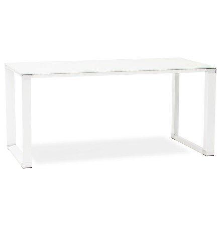 Bureau droit design 'XLINE' en verre blanc - 160x80 cm