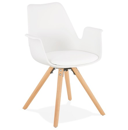 Chaise avec accoudoirs 'ZALIK' blanche style scandinave
