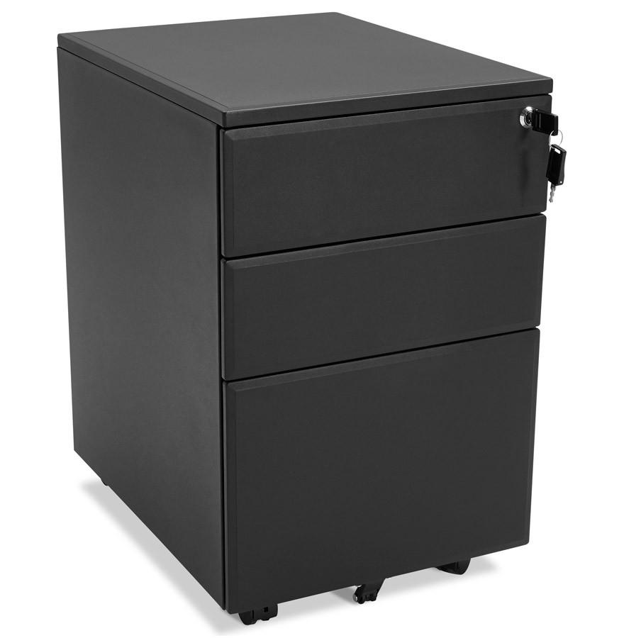 Caisson de rangement dali noir tiroirs pour bureau for Rangement bureau noir