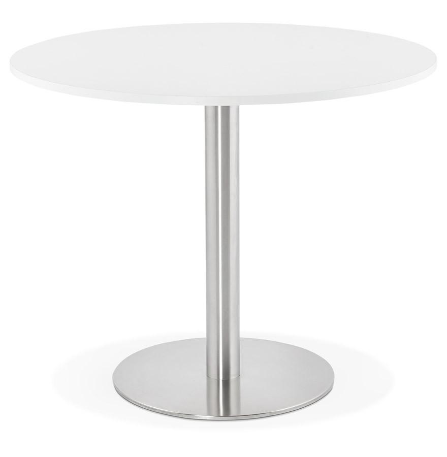 Table de bureau ronde dallas blanche 90 cm table diner for Bureau 90 cm de large
