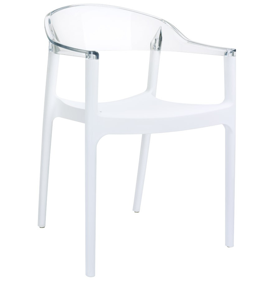 Chaise design ema blanche et transparente chaise moderne - Chaise polycarbonate blanche ...