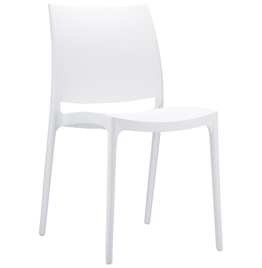 Chaise design enzo blanche chaise moderne for Chaise blanche plastique