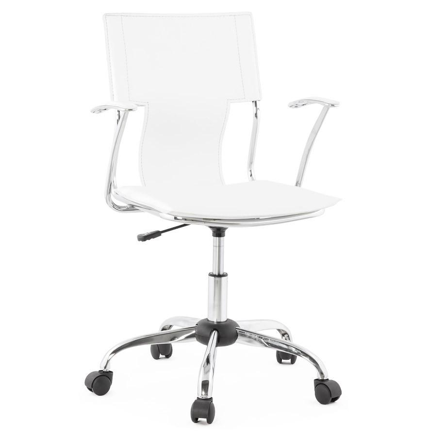 fauteuil de bureau evo blanc sur roulettes - Chaise De Bureau Ado