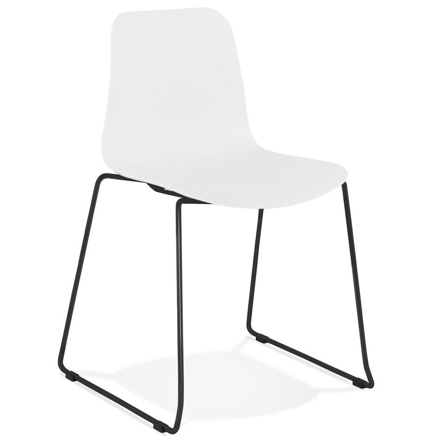 Chaise moderne expo blanche avec pieds en m tal noir for Chaises blanches modernes