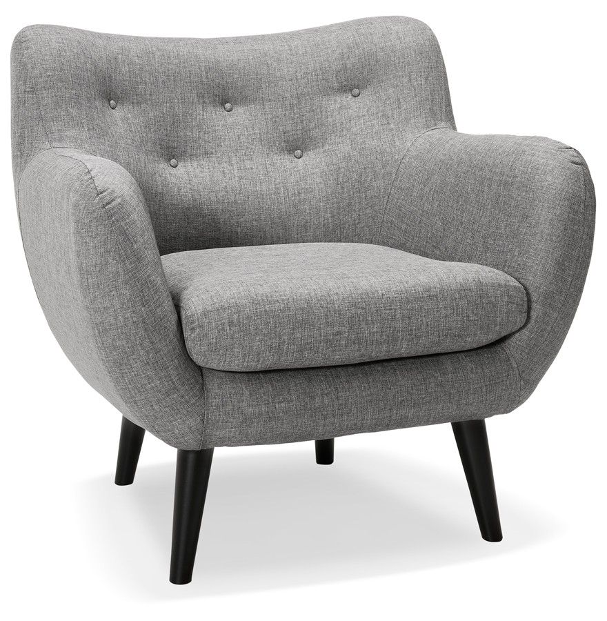 fauteuil de salon 1 place gaspard mini en tissu gris clair. Black Bedroom Furniture Sets. Home Design Ideas