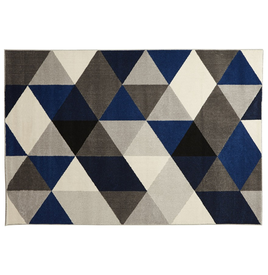 Tapis design grafik grand tapis de salon aux tons bleus - Tapis salon gris design ...