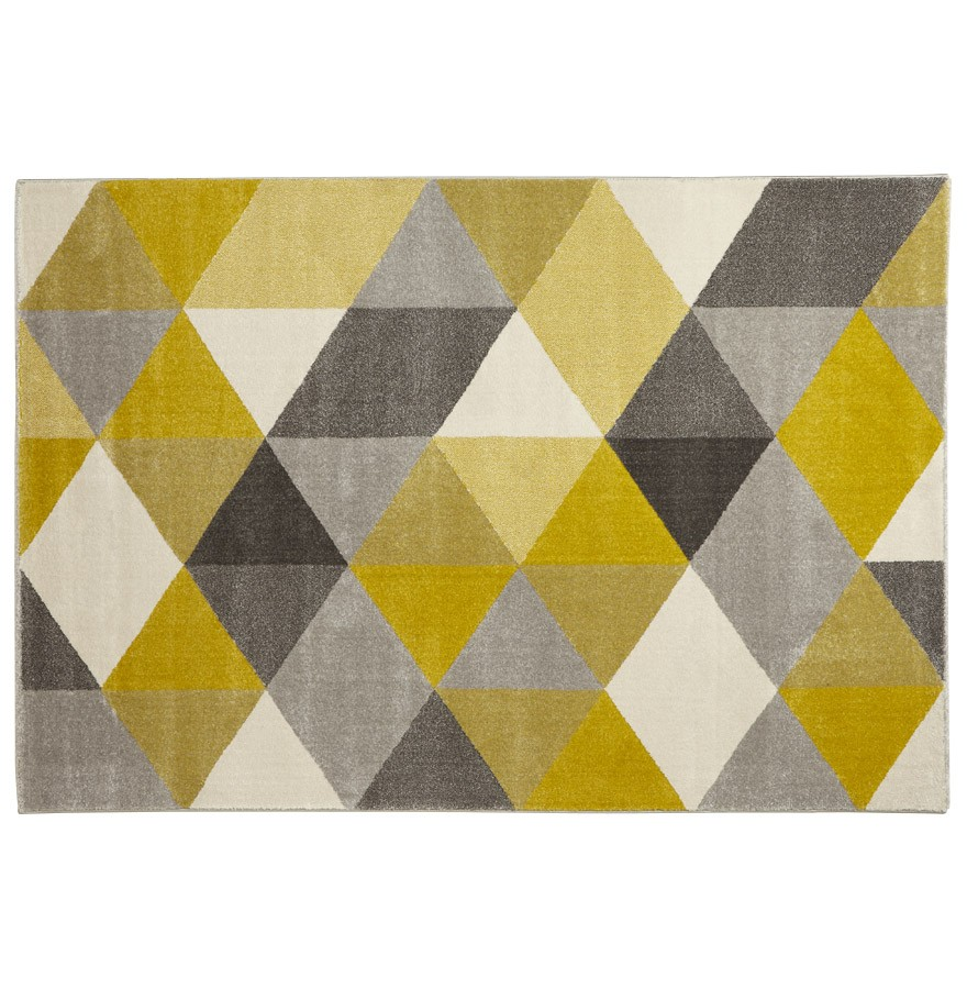 Tapis design grafik grand tapis de salon aux tons jaunes - Tapis salon gris design ...