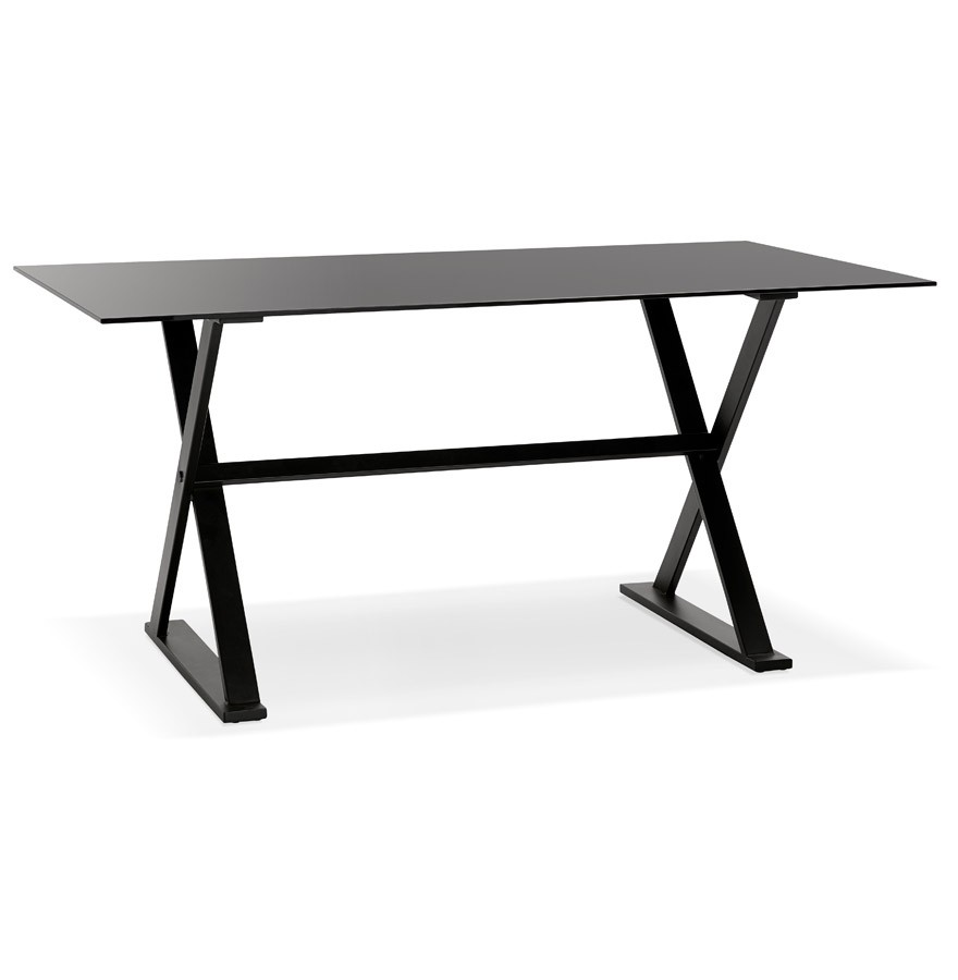 Table design havana en verre noir bureau moderne 160x80 cm for Table bureau