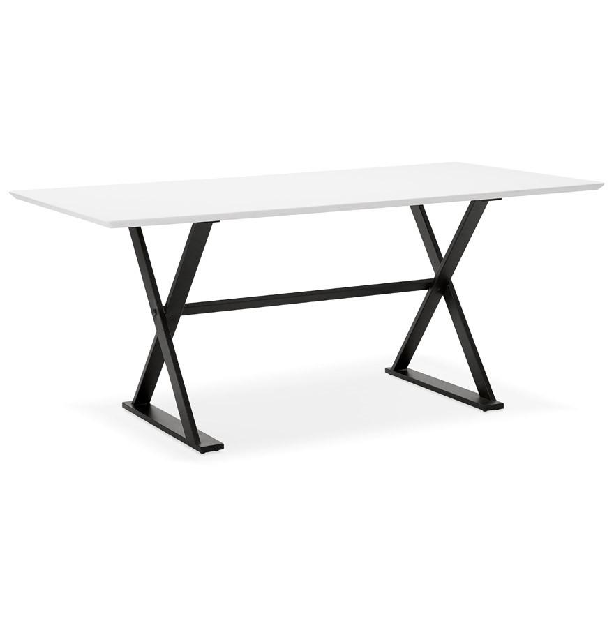 table avec pieds en croix havana blanche bureau design 180x90 cm. Black Bedroom Furniture Sets. Home Design Ideas
