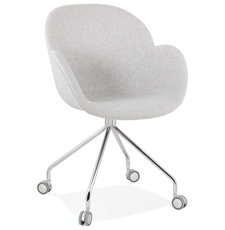 Chaise de bureau KEV en tissu gris clair Chaise sur roulettes