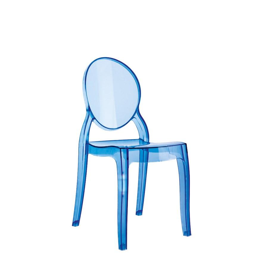 Chaise Pour Enfant KIDS Bleue Transparente En Matiere Plastique