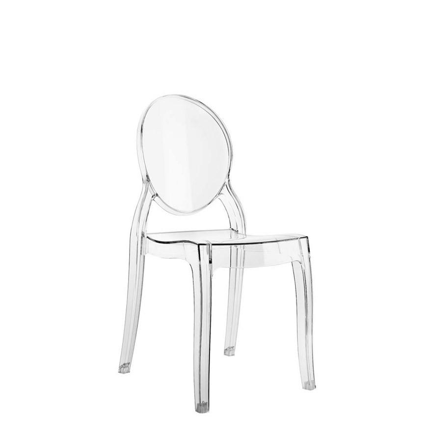 Chaise pour enfant kids transparente en mati re plastique for Chaise medaillon enfant