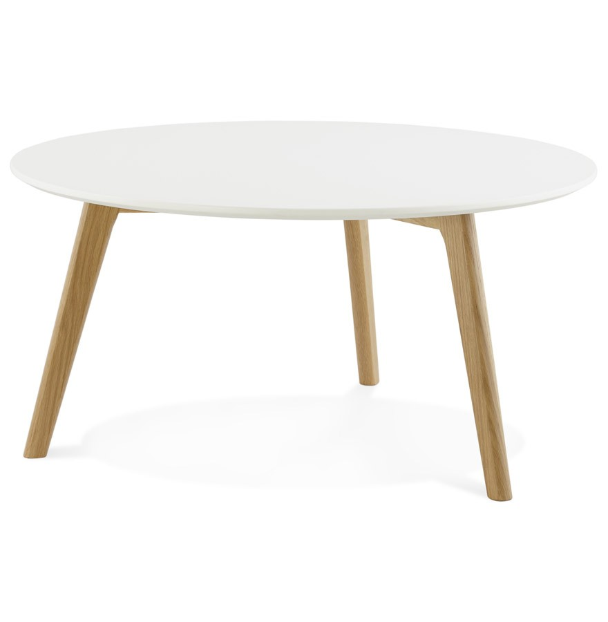 Table basse de salon ronde kofy style scandinave for Table basse blanche pied bois
