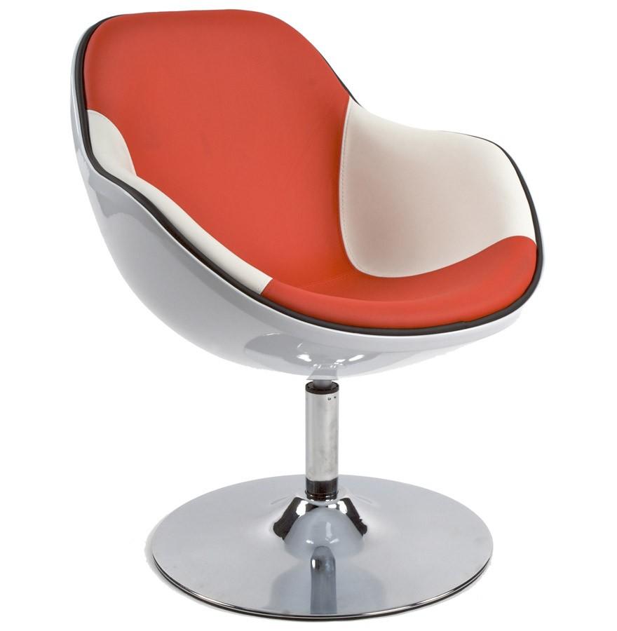 Fauteuil Design Kok Pivotant Blanc Et Rouge Style Retro