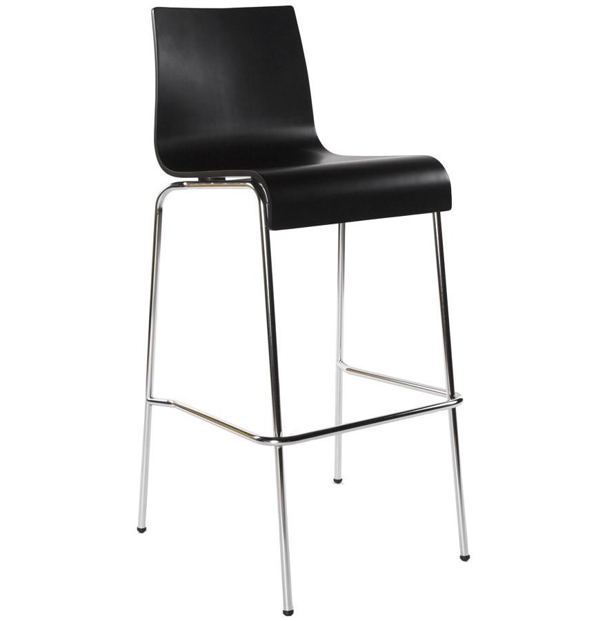 tabouret haut kwatro bois noir sur 4 pieds tabouret design. Black Bedroom Furniture Sets. Home Design Ideas