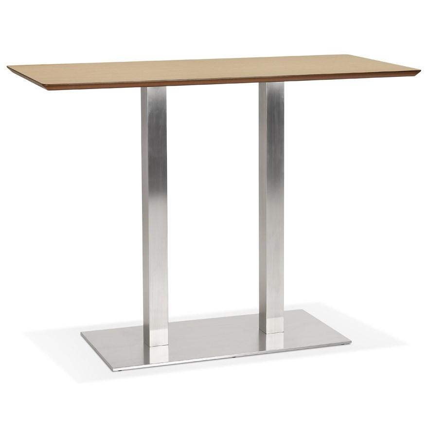 Table Haute Avec Rangement table haute design 'mambo bar' en bois finition naturelle avec pied en  métal brossé - 150x70 cm