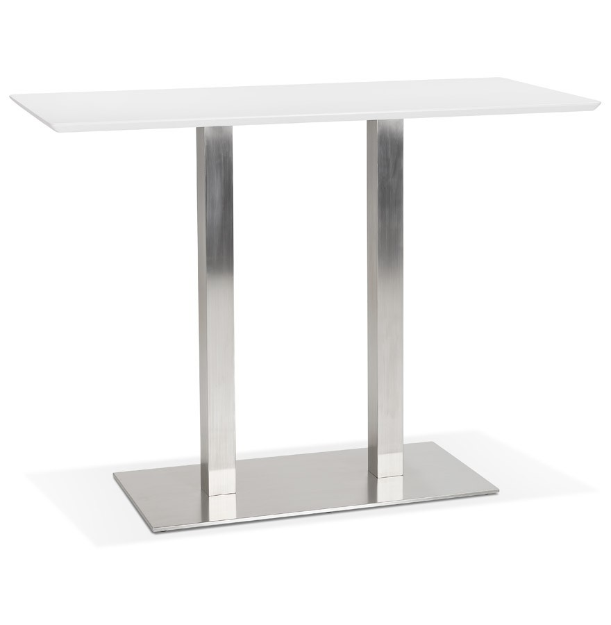 Table Haute Mambo Bar Blanche Avec Pied En Metal Brosse 150x70 Cm