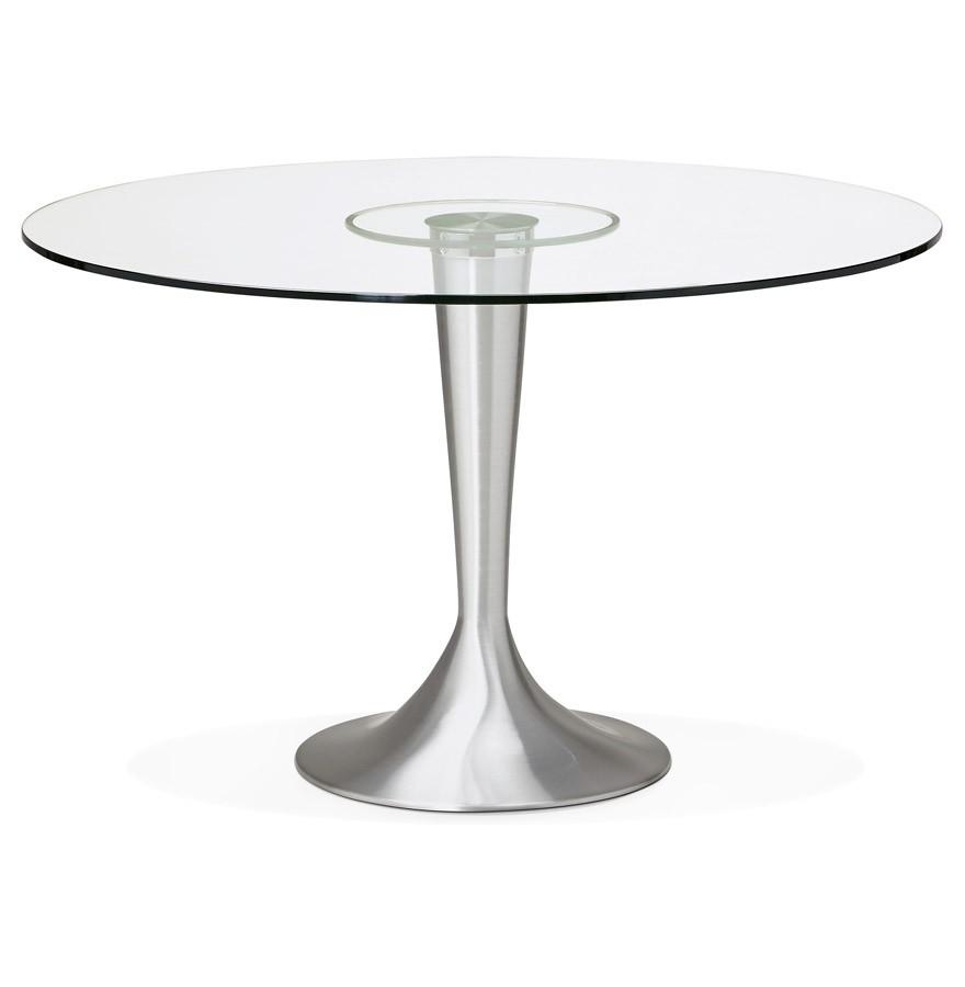 Table d ner ronde moderne maskara en verre 120 cm - Table moderne en verre ...