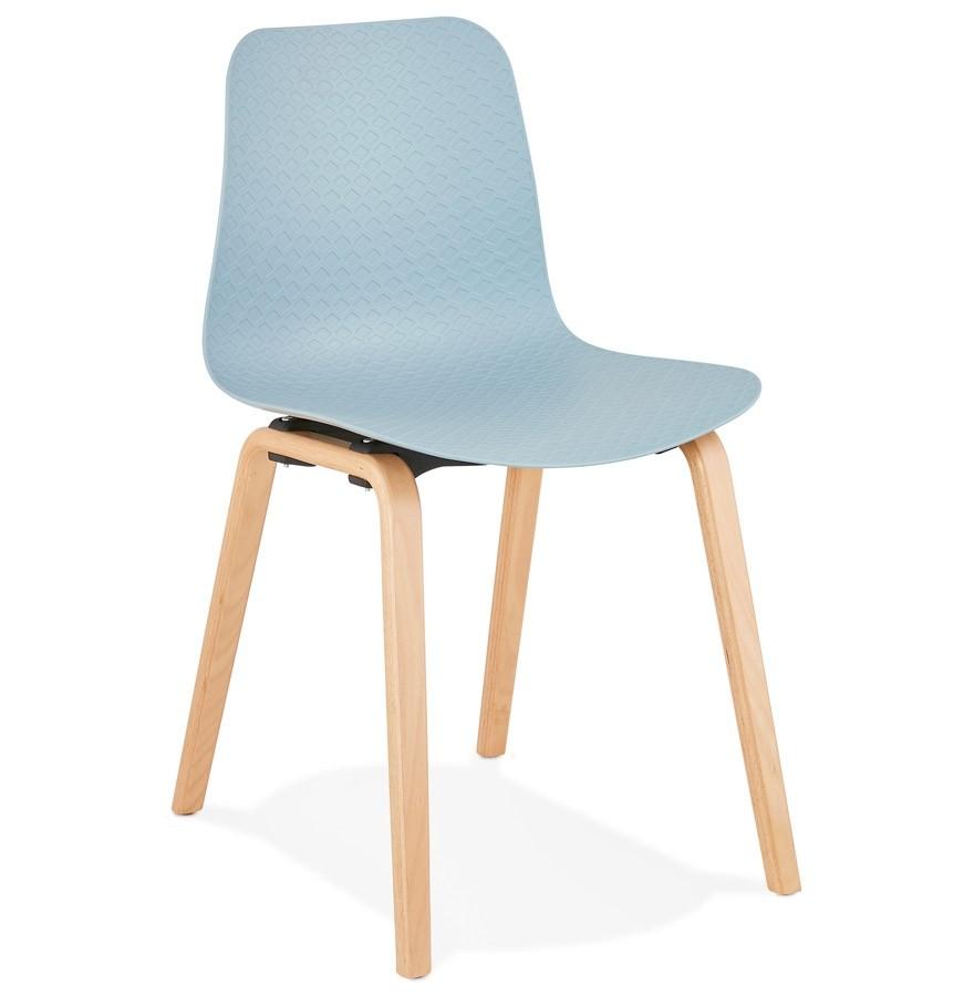 chaise scandinave pacifik bleue avec pieds en bois finition naturelle - Pied De Chaise Scandinave