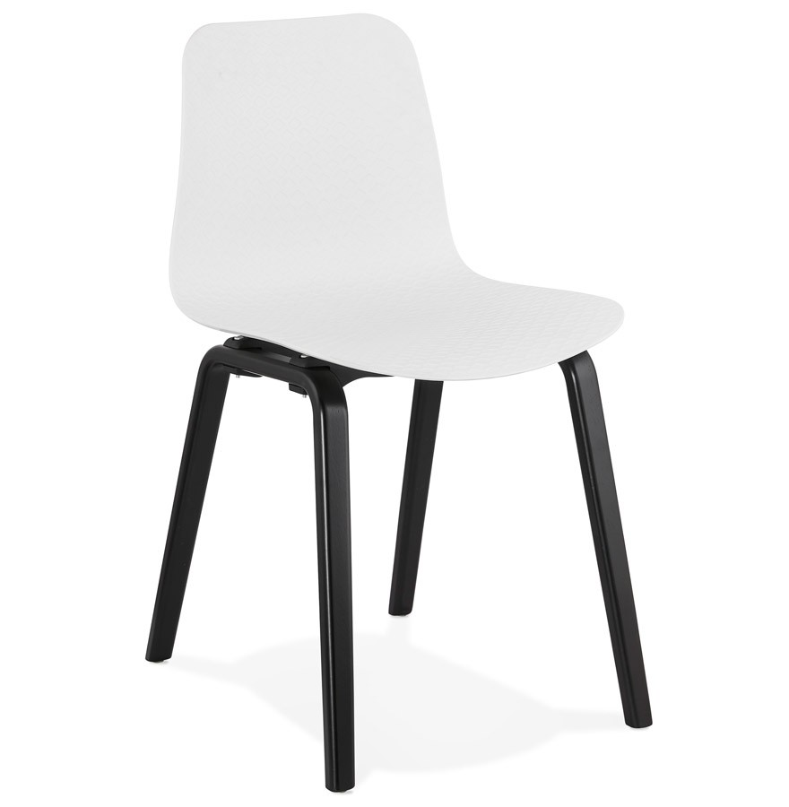 Chaise Design PACIFIK Blanche Avec Pieds En Bois Noir