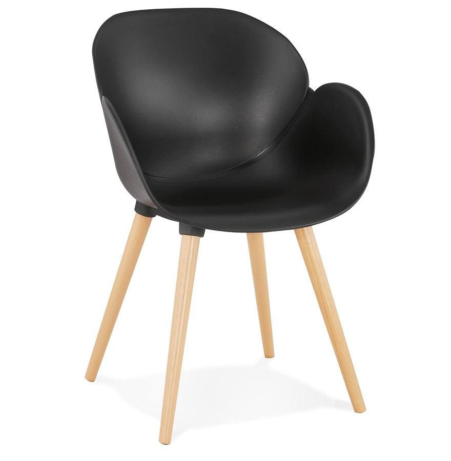 Chaise design scandinave picata noire avec pieds en bois for Chaise noir pied bois