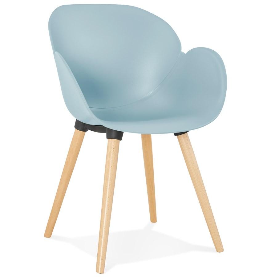 Chaise design scandinave picata bleue avec pieds en bois for Chaise avec pied en bois