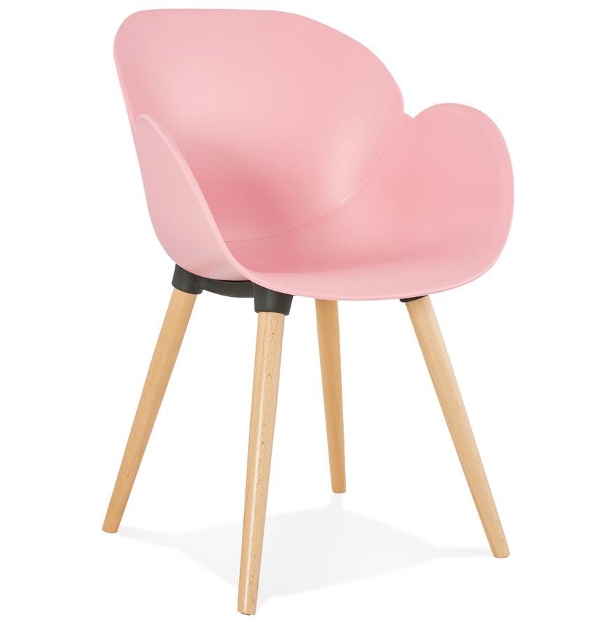 Chaise design scandinave picata rose avec pieds en bois for Chaise avec pied en bois