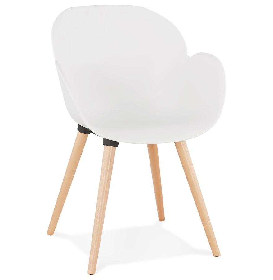 chaise design scandinave picata blanche avec pieds en bois. Black Bedroom Furniture Sets. Home Design Ideas