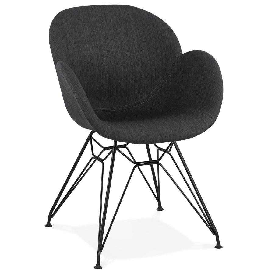 Chaise Design PLANET En Tissu Gris Fonce Avec Pieds Metal Noir
